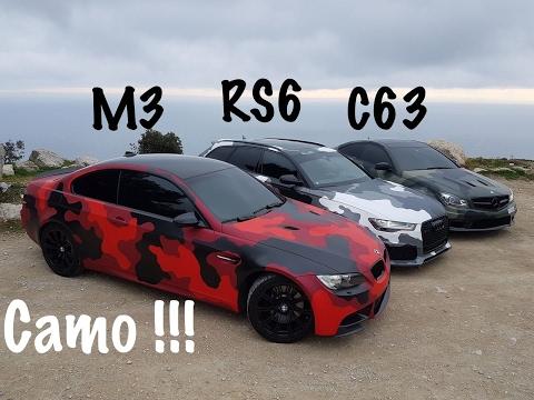 Il découvre la RS6, la C63 AMG et la M3 Camouflage.