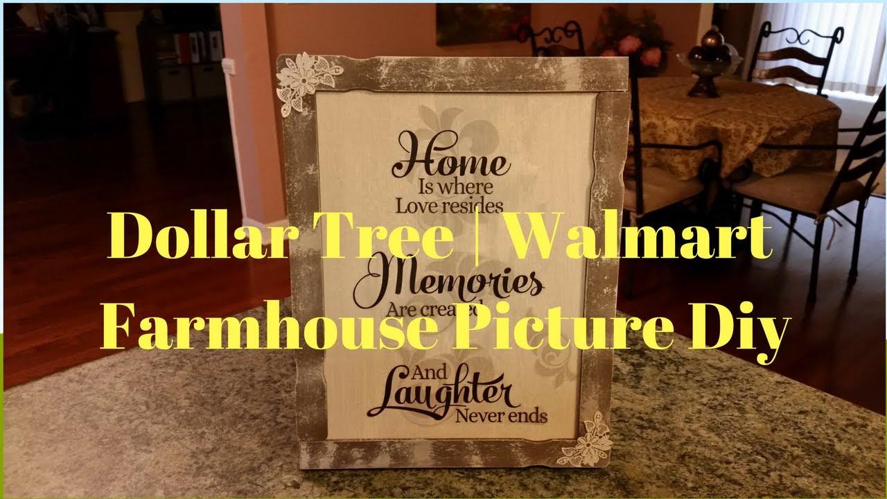 Dollar Tree | Walmart Farmhouse Picture DIY - YouTube