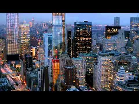 stock footage manhattan financial district at dusk aerial shot