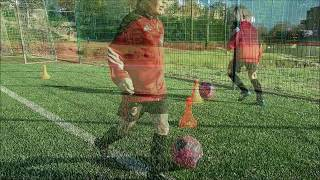 Ball control and footwork drills for young soccer players (U7)