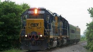 [Boxcar] logo CSX GP40 6060 leads W003-28 through Summerfield, IL on Ex-B&O Line!!!!!!!! (5-28-2013)
