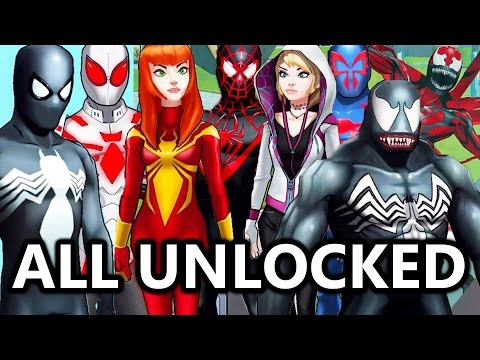 All Spider-Man Suits/Characters Unlocked! | Marvel: Avengers Academy