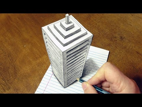 Drawing 3D Skyscraper on Line Paper - How to Draw a Big Building Illusion - By Vamos