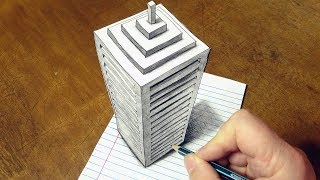 Drawing 3D Skyscraper on Line Paper - How to Draw a Big Building Illusion - #Drawing #Art #HowToDraw