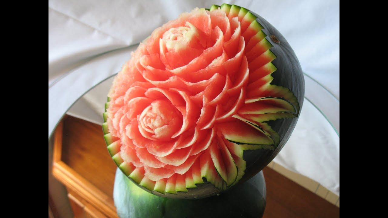 How to make a watermelon carving art with fruit and