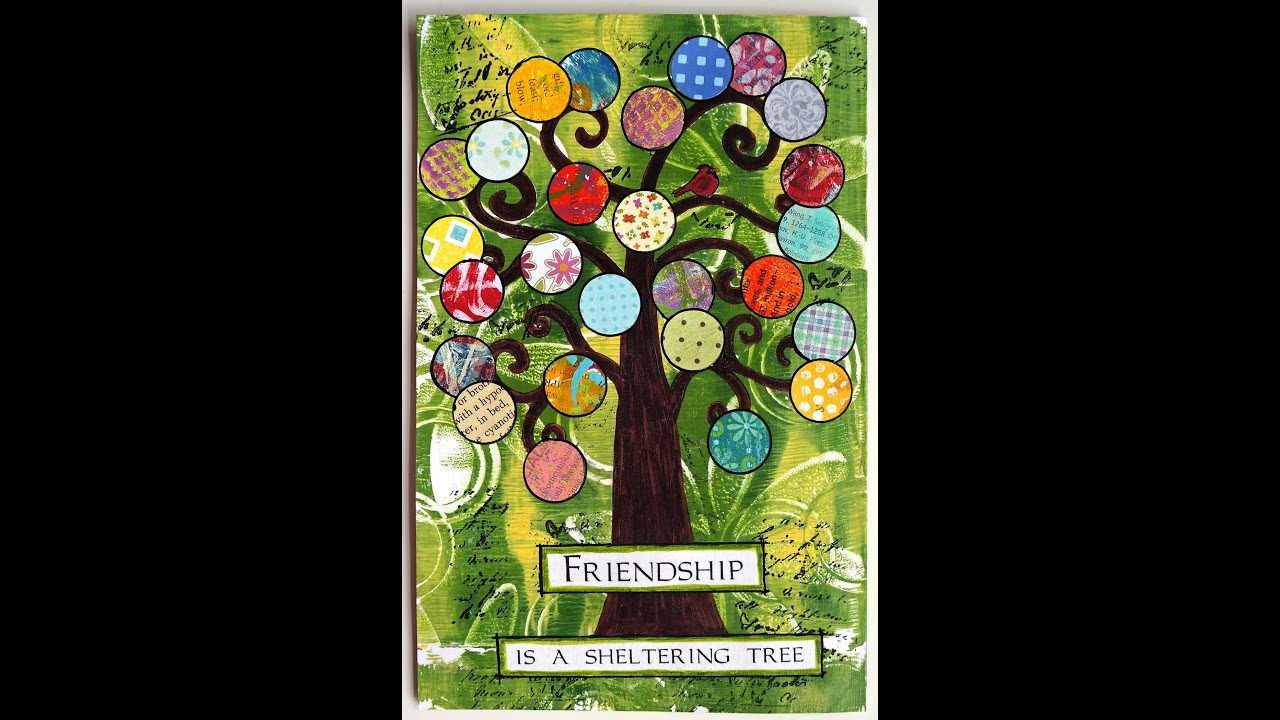 Gelli print art journal page friendship tree youtube for Journal art et decoration