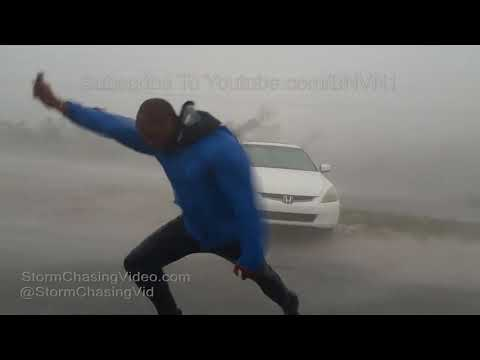 Hurricane Irma - Key West Category 4 Winds knocks Meteorologists Down