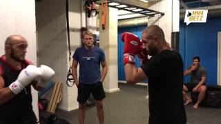 Gökhan Saki training with Ilir Latifi