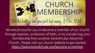 Brandon SDA Church Live Stream 10/02/2020 - Divine Worship -David Deippa -