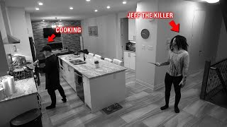 CAUGHT JEFF THE KILLER ON OUR SECURITY CAMERAS AT 3 AM!! *HE ALMOST GOT US*