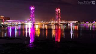Night timelapse of Memorial Bridge between Portsmouth, New Hampshire and Kittery, Maine