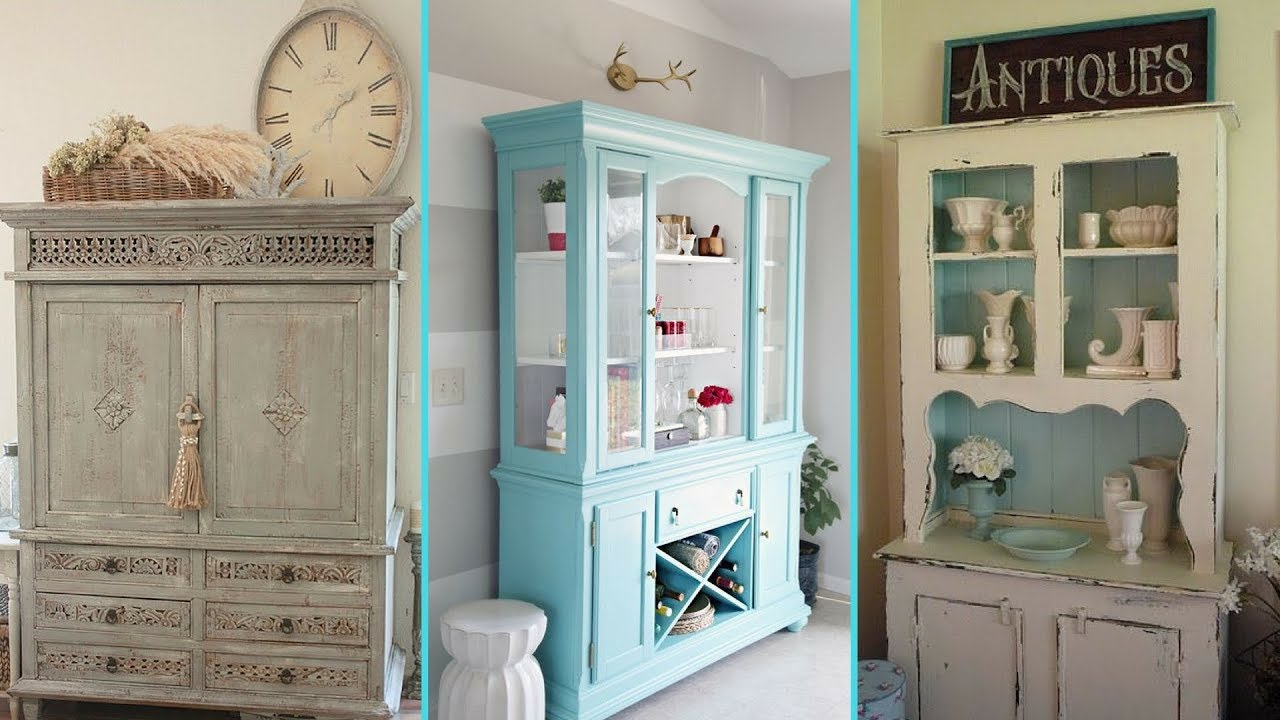Diy Shabby Chic Style Hutch Decor Ideas