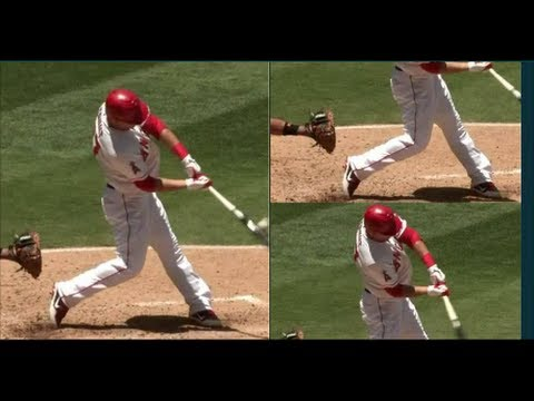 Slow Motion Baseball Swing >> MIKE TROUT Baseball Swing ANALYSIS Slow Motion Hitting Mechanics Instruction Lesson LA Angels ...