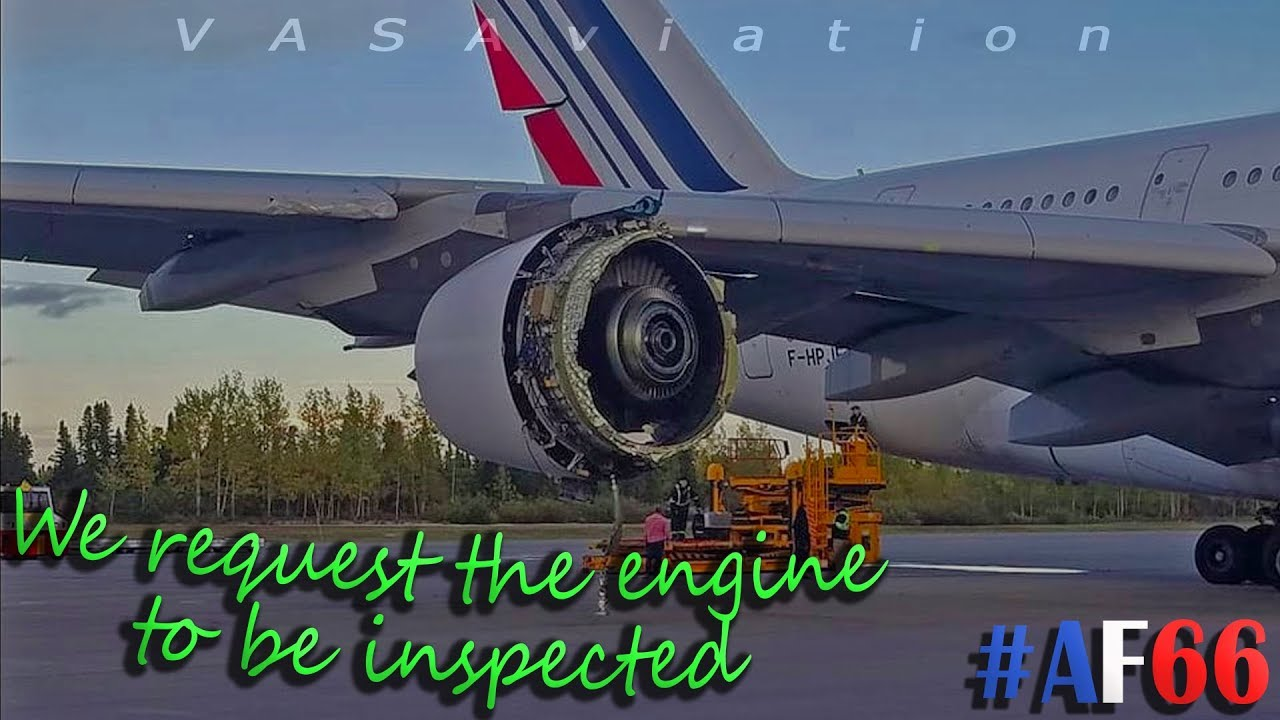 [REAL ATC] Air France A380 LOSES ENGINE COWLING over the Atlantic! #AF66