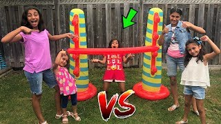 Kids play Inflatable Limbo Challenge with HZHtube kids fun compilation!! family fun game