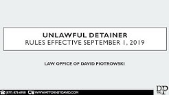 New California Unlawful Detainer Rules Effective September 1, 2019