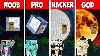 Minecraft NOOB vs PRO vs HACKER vs GOD: FAMILY MOON HOUSE CHALLENGE in Minecraft | Animation