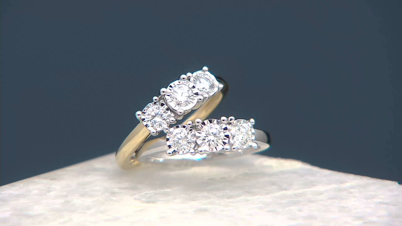 3 Stone Diamond Miracle Ring 14K Gold 1 2 cttw by Affinity on