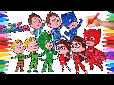 PJ MASKS Amaya Conor Greg Transform into Owelette Catboy Gekko Coloring Pages Animation Videos