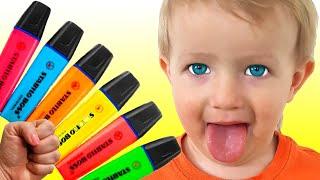 Катя и Дима учат цвета с маркерами + другие веселые истории