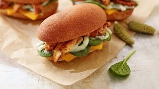 Chicken and Cheddar sliders with cucumber remoulade