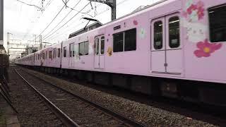 サンリオのラッピング電車