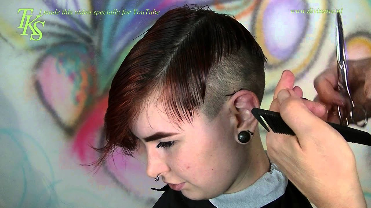 Ultra short disconnect clipper cut sides with tattoo Pixie hairstyle ...