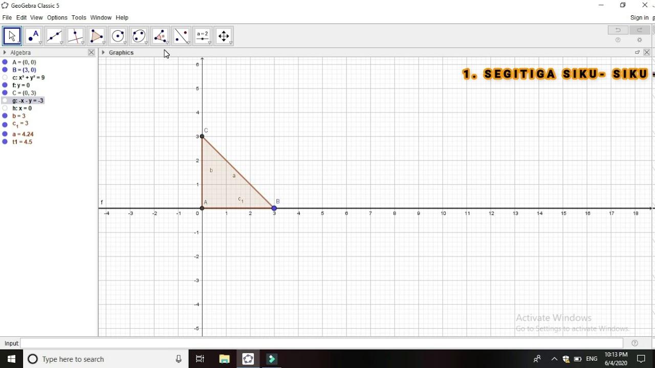 Tutorial Geogebra: 11. Segitiga (Jenis-jenis segitiga berdasarkan besar sudut)