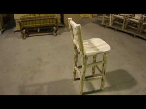 Amish Made Montana Log Furniture Barstool with Back by Montana Woodworks