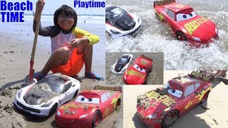 Children's TOY CAR Playtime on the Beach. Racing Toy Cars Playtime Fun! 2 Toy Cars for Kids
