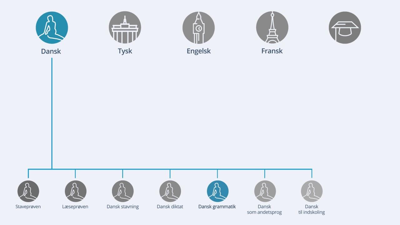 Hvad består modulerne af (Dansk grammatik)