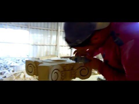 Производство Дагестанского натурального камня , пилим показываем цвета и узоры . Песчаная долина