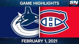 NHL Game Highlights   Canucks vs. Canadiens - Feb. 01, 2021