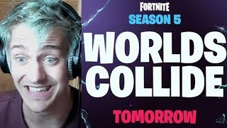 Ninja Reacts To New Season 5 Worlds Collide Teaser In Fortnite