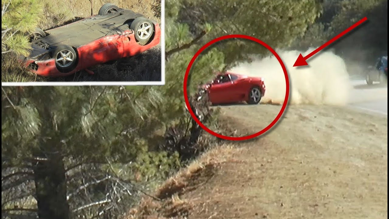 Crazy Ferrari Flips Down Embankment Youtube