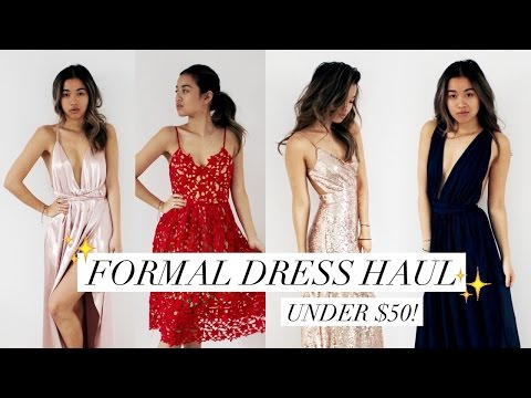 AFFORDABLE PROM/FORMAL DRESS HAUL + REVIEW! (under $50) | rachspeed