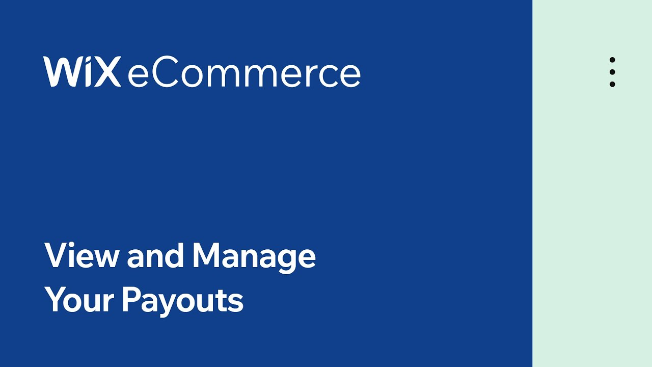 Wix eCommerce | View and Manage Your Payouts with Wix Payments