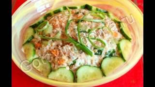 Рецепты салатов:Салат с горбушей и свежим огурцом