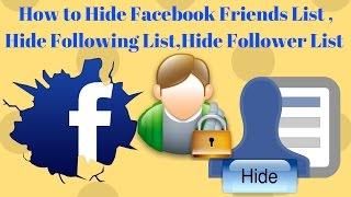 How to Hide Friends List on Facebook | Hide My following list on Facebook 2017 [Urdu/Hindi]
