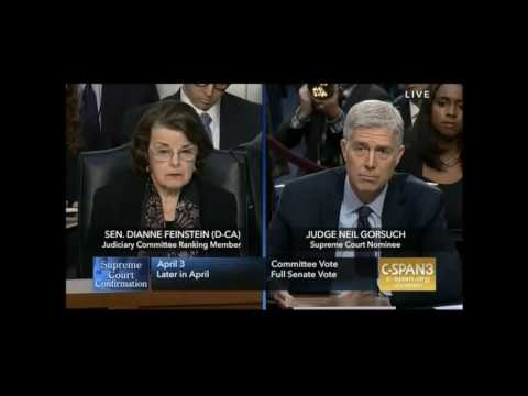 Feinstein at Gorsuch Hearing, First Round