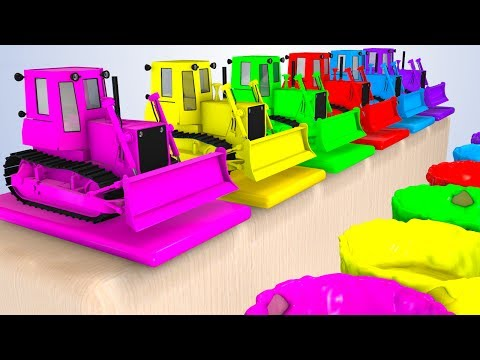 Thumbnail: Colors For Babies With Bulldozer 3D and Cars Superheroes for Kids - Learning Colors