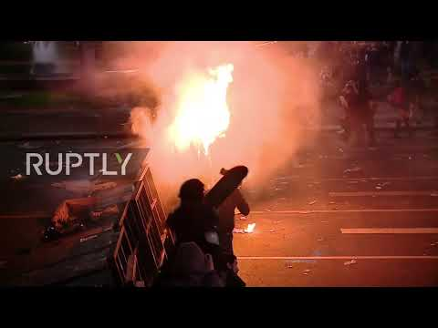 Argentina: Water cannons blasted as protest for missing detainee turns violent