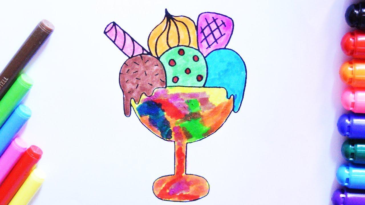 Renkli Dondurma Boyama Sayfasi Cocuklar Icin Youtube
