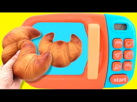 Toy Microwave Squishy Croissant Play Doh Learn Colors with Toys & Slime for Kids