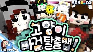 뜰냥이,도냥이,쵸냥이,연냥이! 수현 집사를 피해 탈출하라! [마인크래프트 컨텐츠: 고양이 마검 탈출맵] - Cat Magical Sword - [잠뜰]