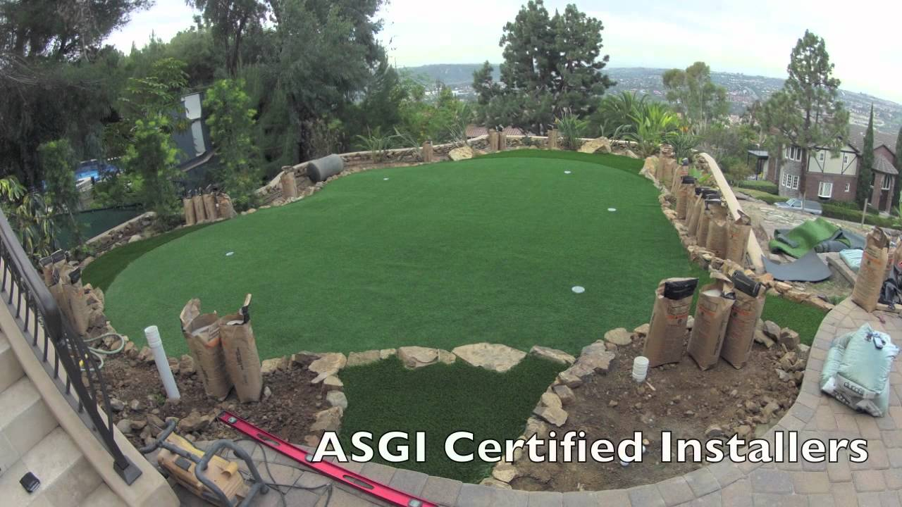 synthetic putting green time lapse installation video by socal