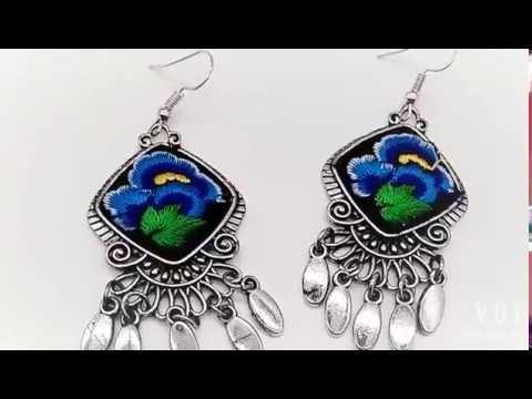BLUE GREEN FLOWER MIAO TRIBE EARRING