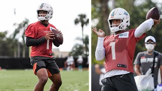 Dolphins rookie QB Tua Tagovailoa looks healthy in team's first padded practice! #tuatagovailoa