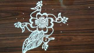 Rangoli designs..peacocks...simple and easy...8 to 2 dots
