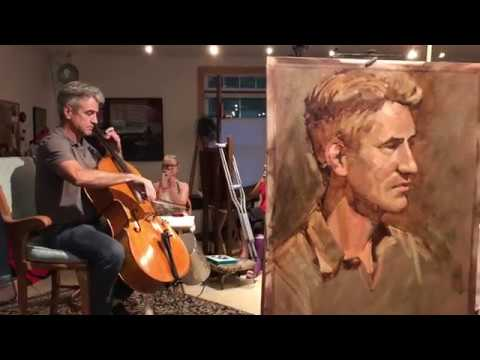 Cellist Dermot Mulroney plays for artists.
